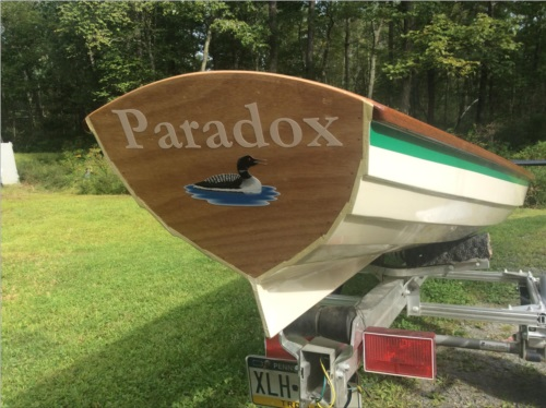 I built this boat from scratch, a 18 ft. Rowing wherry. Lettering from David G, PA