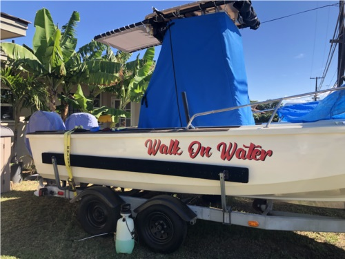 My 20 ft Boston whaler.Lettering from Daryl Q, HI