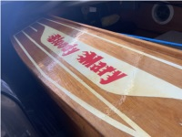 Home-made antique-style racing boat. Boat Lettering from David E, FL