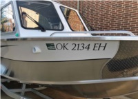 2021 Duckworth Pacific Navigator Boat Lettering from Maurice G, TX