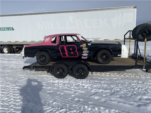 Mid 80's Monti Carlo.   IMCA Hobby stock Lettering from William O, Manitoba