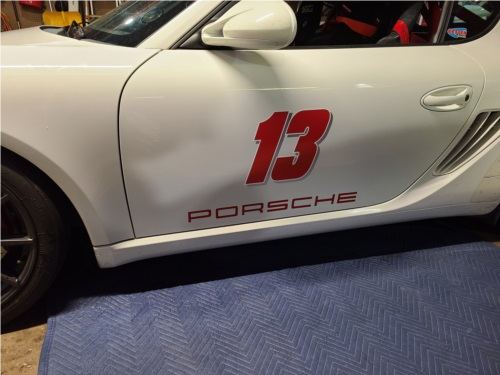 2011 Porsche Cayman Cayman track car Lettering from John D, NY